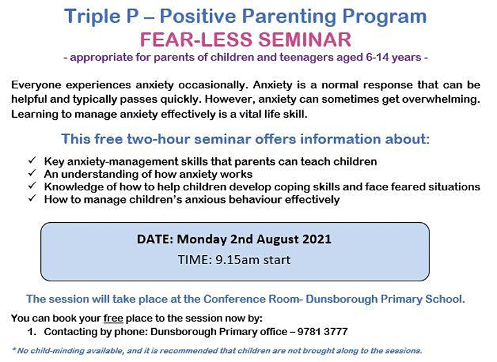 Triple P-Positive Parenting Program, FEAR-LESS Seminar image