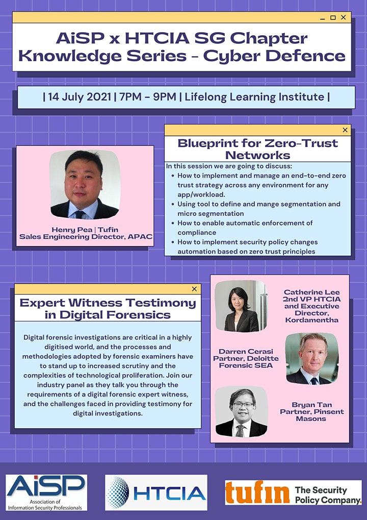 AiSP x HTCIA SG Chapter Knowledge Series - Cyber Defence image