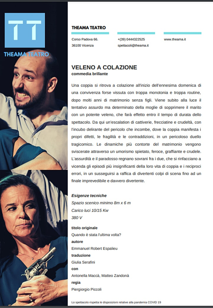 """Immagine """"VELENO A COLAZIONE"""" - TEATRO THEAMA -ESTATE IN VILLA"""