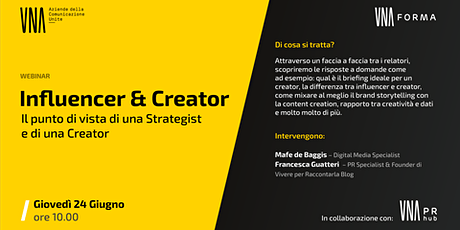 Influencer & Creator - Il punto di vista di una Strategist e di una Creator biglietti
