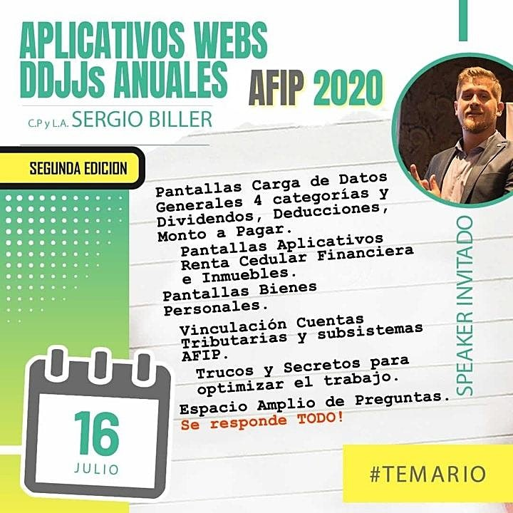 Imagen de Grabación 2da edición - Aplicativos webs DDJJs  anuales AFIP 2020