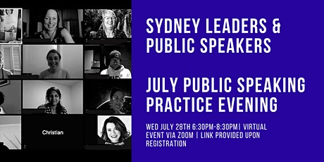 Sydney Leaders and Public Speakers Virtual Practice Evening July 2021 tickets