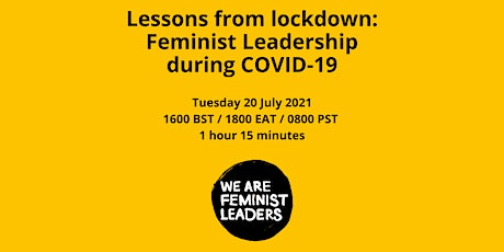 Lessons From Lockdown: Feminist Leadership During COVID-19 tickets