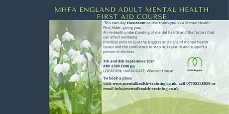 MHFA Adult Mental Health First Aid course classroom tickets