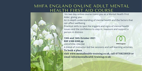 MHFA Adult Mental Health First Aid course ONLINE tickets