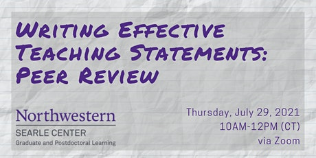 Writing Effective Teaching Statements: Peer Review tickets