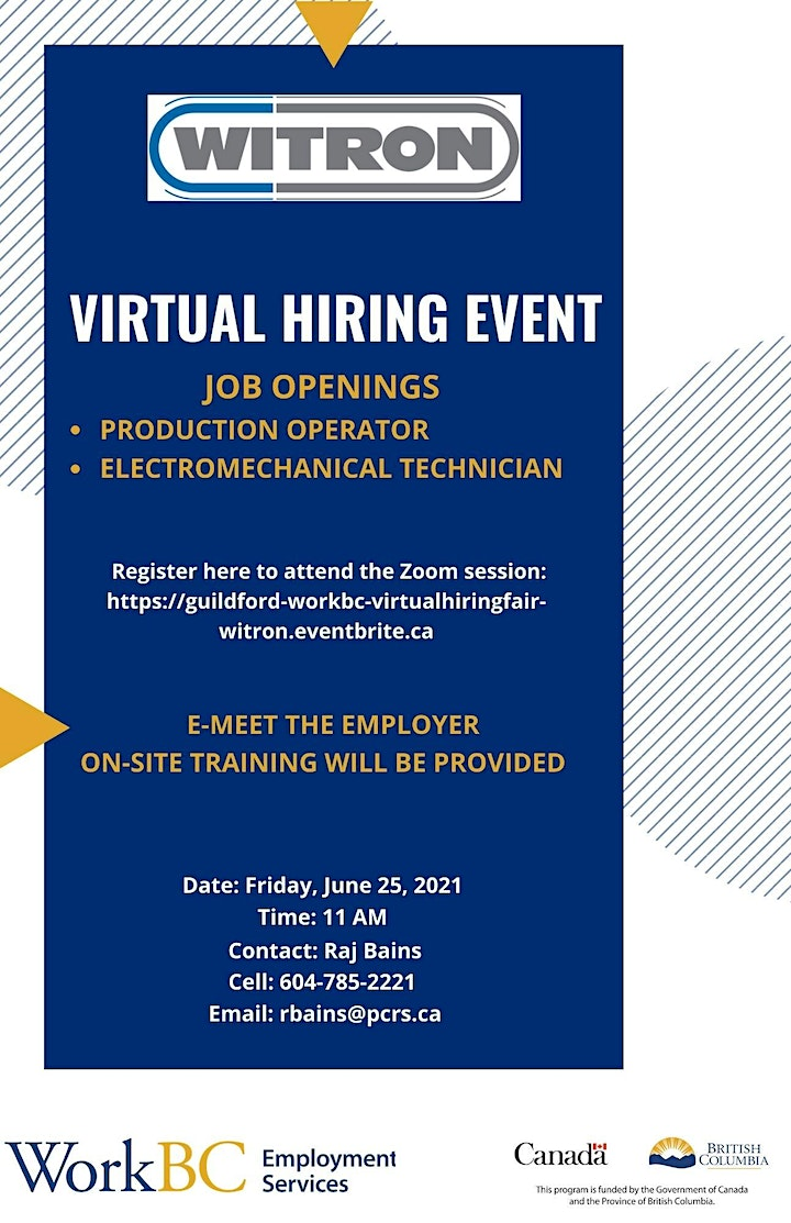 Guildford WorkBC Online Hiring Event with Witron image