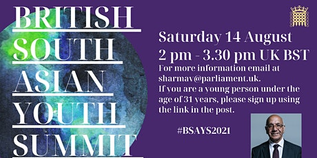 British South Asian Youth Summit (BSAYS) 2021 tickets