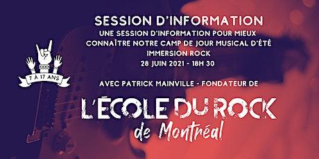 Session d'information - Camp de jour musical -  L'École du Rock de Montréal billets