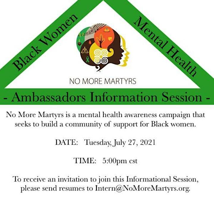 No More Martyrs Ambassador Information Session image