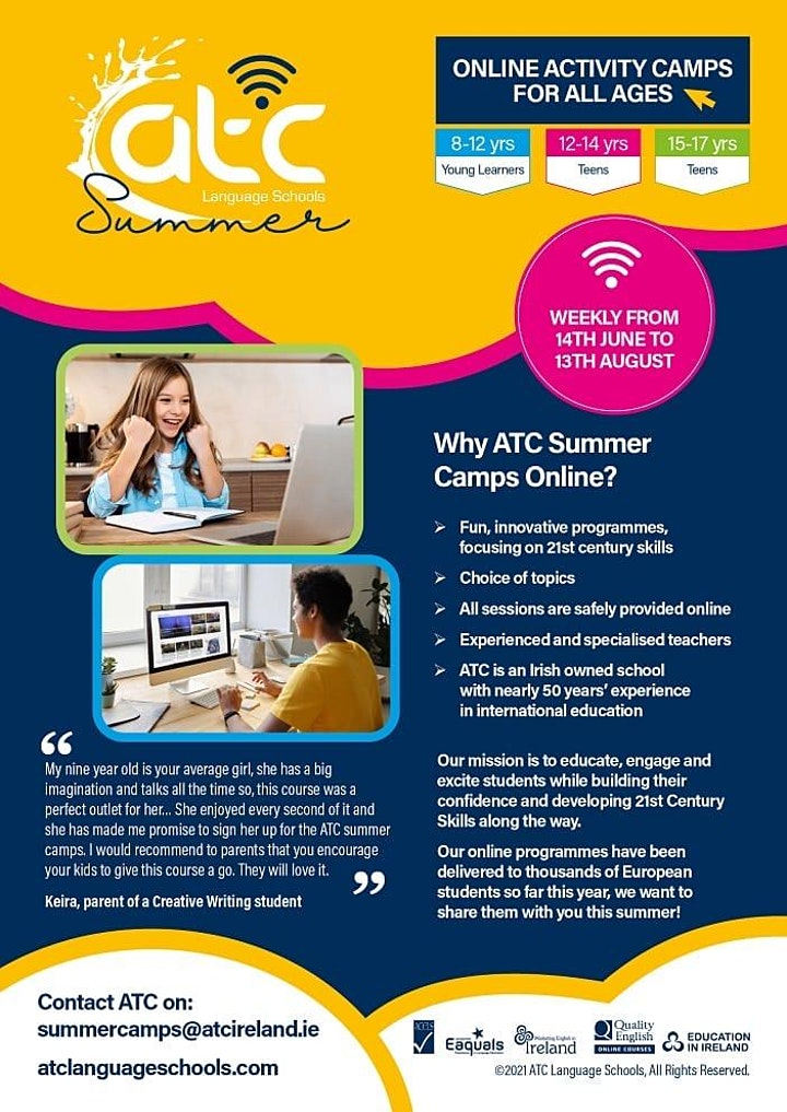 Spanish  Summer Camp for Kids - Dublin (Virtual)- Ages: 8-12 yrs image