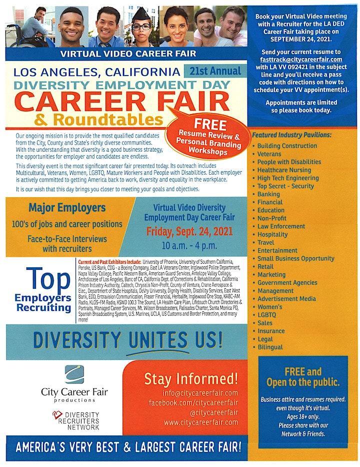 LOS ANGELES' Virtual Diversity Employment Day Career Fair (POSTPONED) image