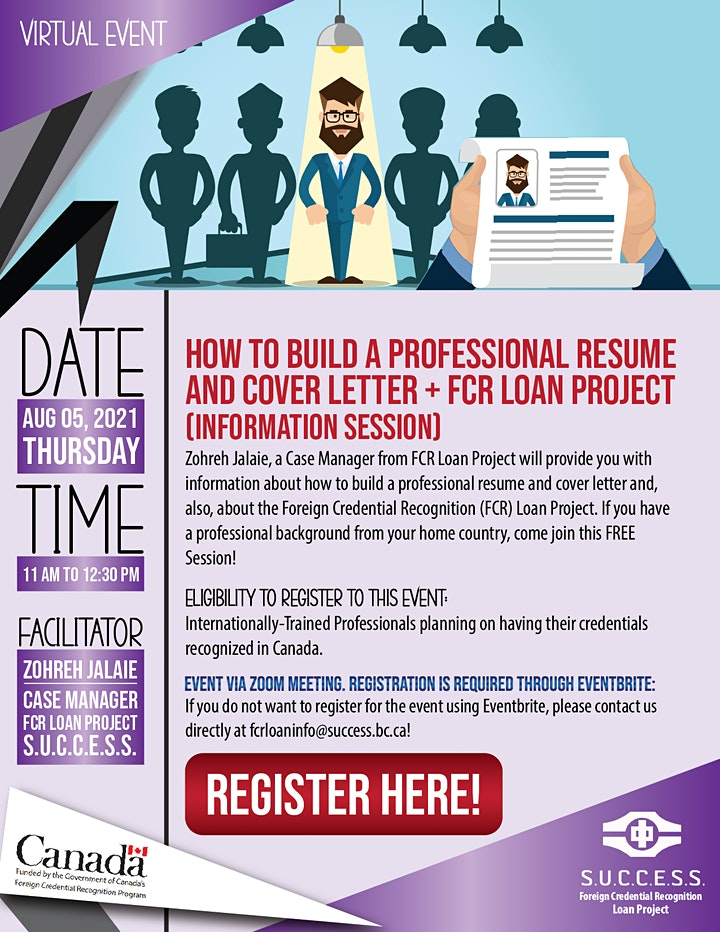 How to build a professional resume and cover letter +  Information Session image