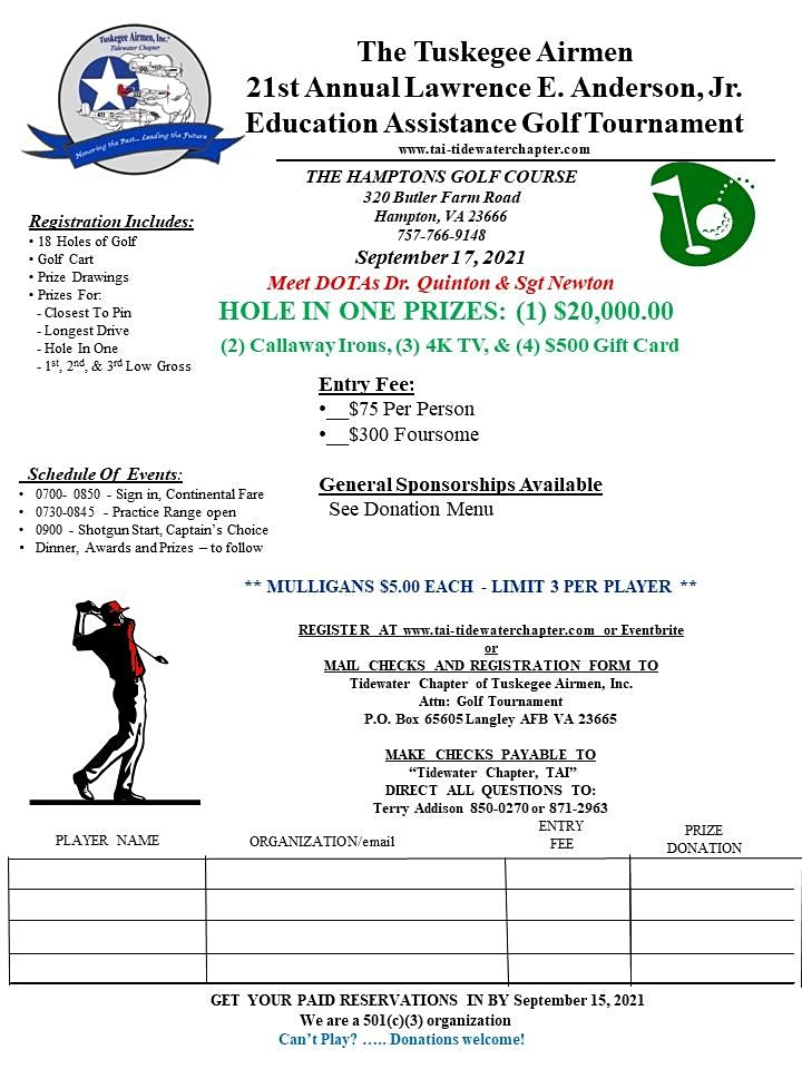 21st Annual Lawerence E. Anderson, Jr. Education Assistance Golf Tournament image