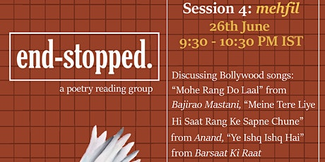 end-stopped. (a poetry reading group) | mehfil tickets