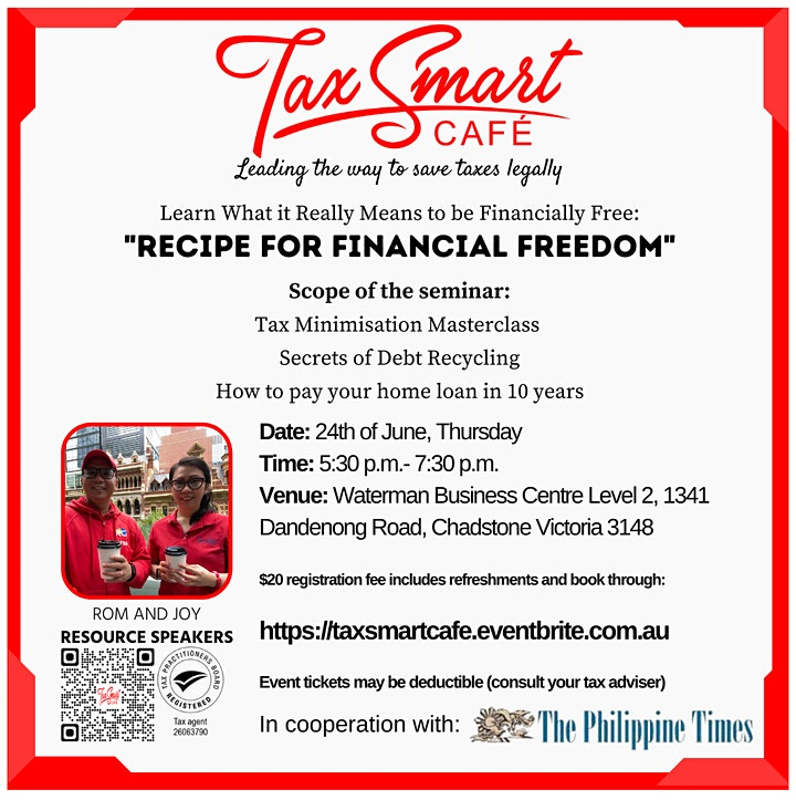 """""""Recipe for Financial Freedom"""" @ Waterman Business Centre Chadstone image"""
