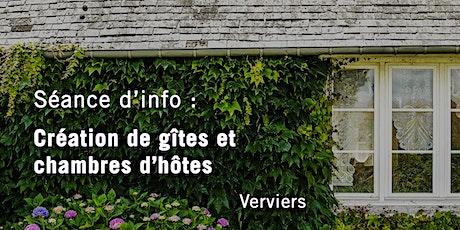 """Séance d'infos - """"Création de gîtes et chambres d'hôtes"""" - Verviers tickets"""