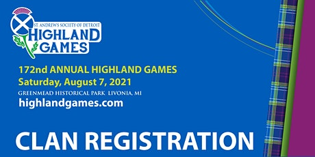 St. Andrew's Society of Detroit Annual Highland Games Clan Registration tickets