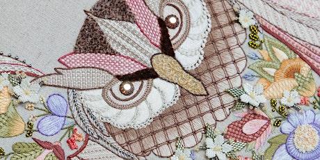 Hazel Blomkamp on contemporary interpretations of Crewelwork embroidery tickets