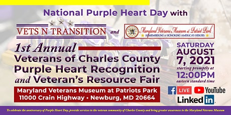 1st Annual Veterans of Charles Co. Purple Heart Recognition / Veteran Fair tickets