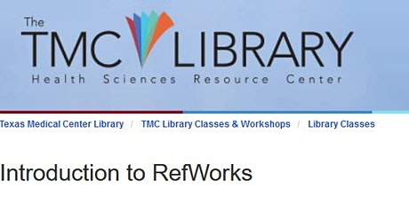 Introduction to RefWorks tickets