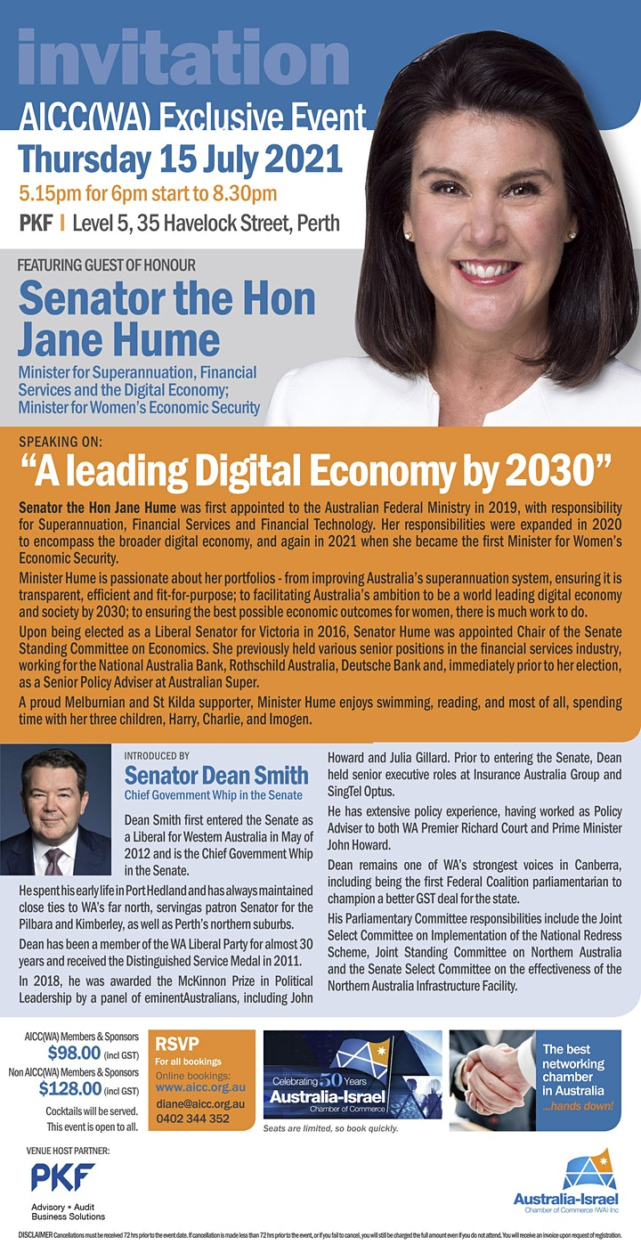 AICC(WA) Exclusive Event featuring Senator the Hon Jane Hume image
