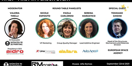First in-person Wi3DP ITALY:  Sept. 22nd  RM Forum Conference & Networking biglietti