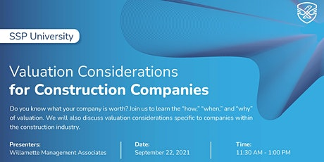 Valuation Considerations for Construction Companies tickets