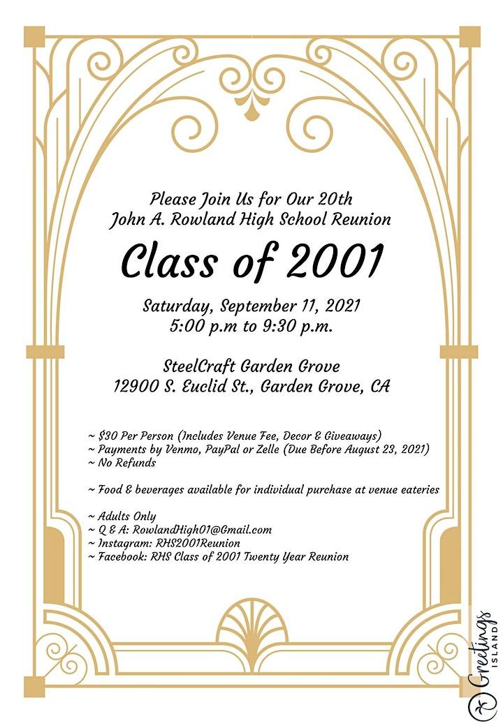 JOHN A. ROWLAND HIGH SCHOOL C/O 2001 20 YEAR REUNION image