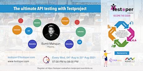 Codeathon -The ultimate API testing with Testproject starts on 04 Aug 2021 ingressos