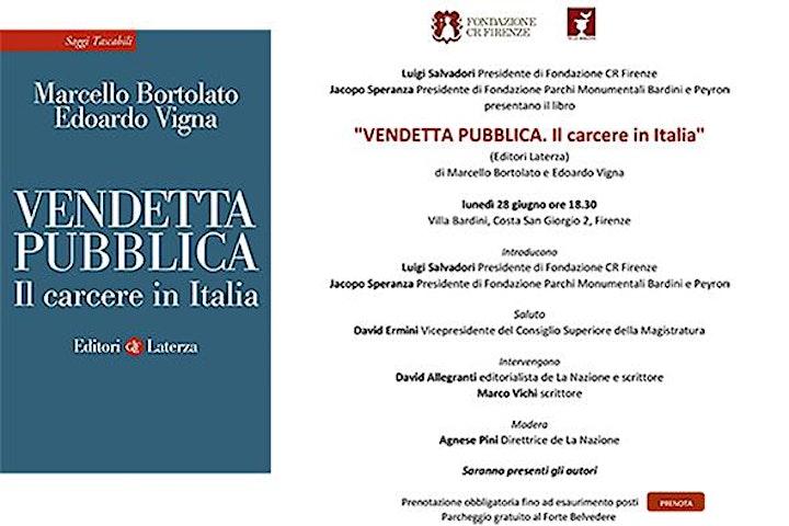 """Immagine Presentazione libro """"Vendetta pubblica. Il carcere in Italia"""""""