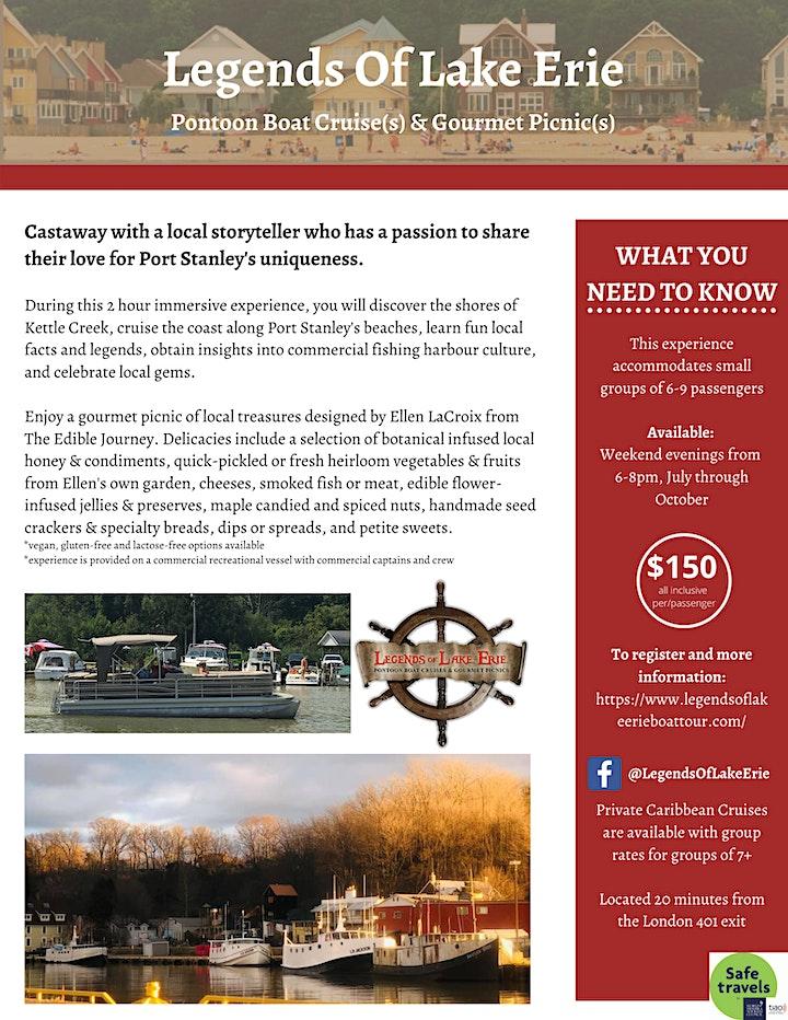 Pontoon Boat Cruises & Gourmet Picnics On Lake Erie, Port Stanley Ontario image