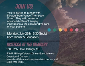 Dinner w/ Vance Thompson Vision Doctors in Billings tickets