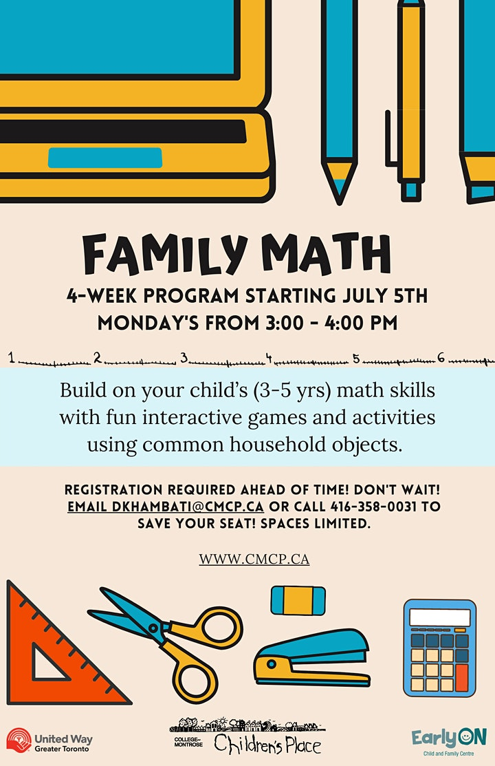 Family Math  - For Families with Children 3-5 Years Old! image