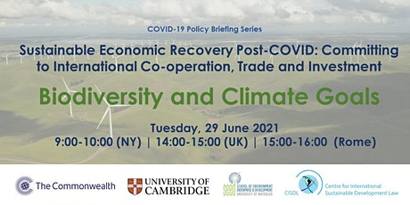 Sustainable Economic Recovery Post-COVID: Biodiversity and Climate Goals tickets