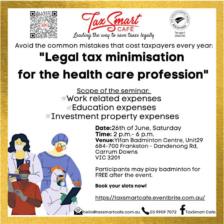 "TaxSmart Cafe: ""Legal tax minimisation  for the health care profession"" image"