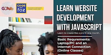 Learn website development with JavaScript tickets