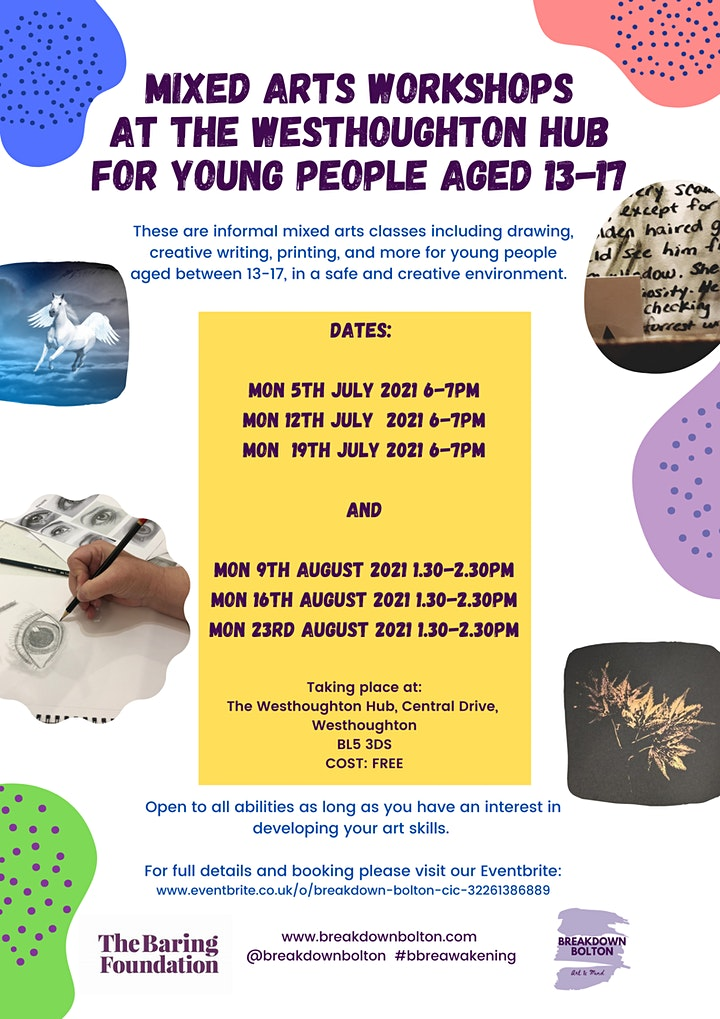 Mixed Arts workshops for young people aged 13-17 at The Westhoughton Hub image