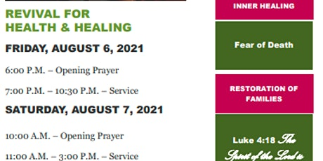 Revival For Health and Healing tickets