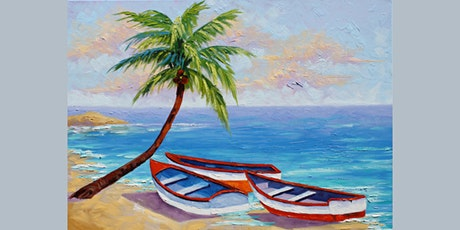 60min Learn to Paint a Scenery: Sandy Beach @1PM  (Ages 6+) tickets