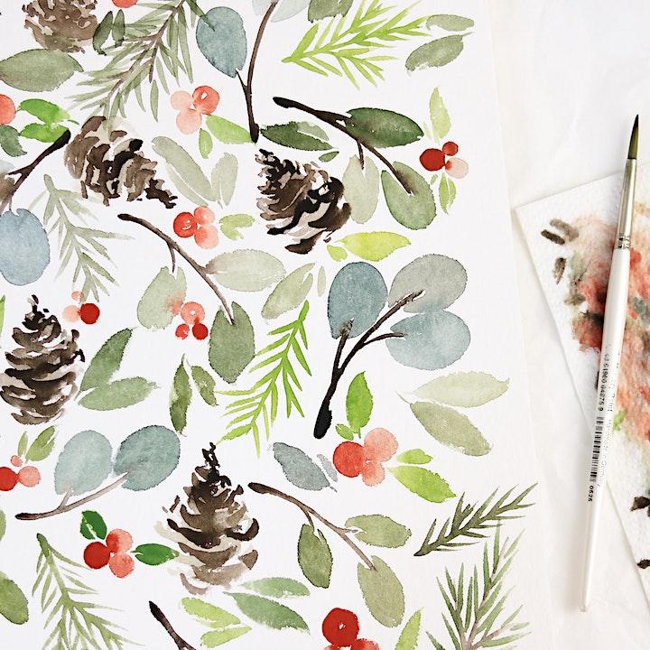Christmas Watercolor Workshop in Nittenau inkl. Starter-Set: Bild