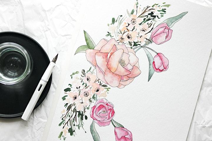 Floral Watercolor & Ink Workshop in Nittenau inkl. Starter-Set: Bild