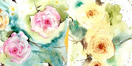 Paint & Sip Lunch weekend watercolours atmospheric flowers-Roses tickets
