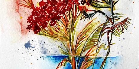 Paint & Sip Lunch weekend watercolours atmospheric Wild Flower Vase tickets