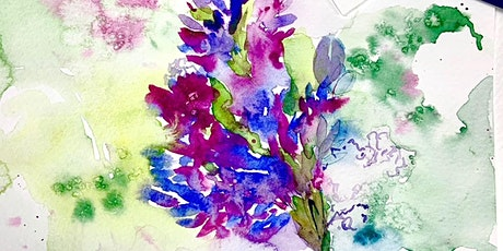 Paint & Sip Lunch weekend watercolours atmospheric Lupin Flower tickets