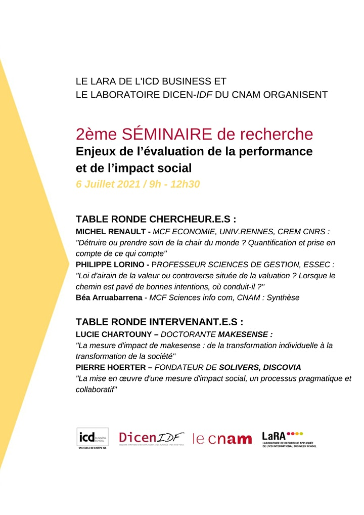 """Image pour Séminaire """"Enjeux de l'évaluation de la performance et de l'impact social"""""""