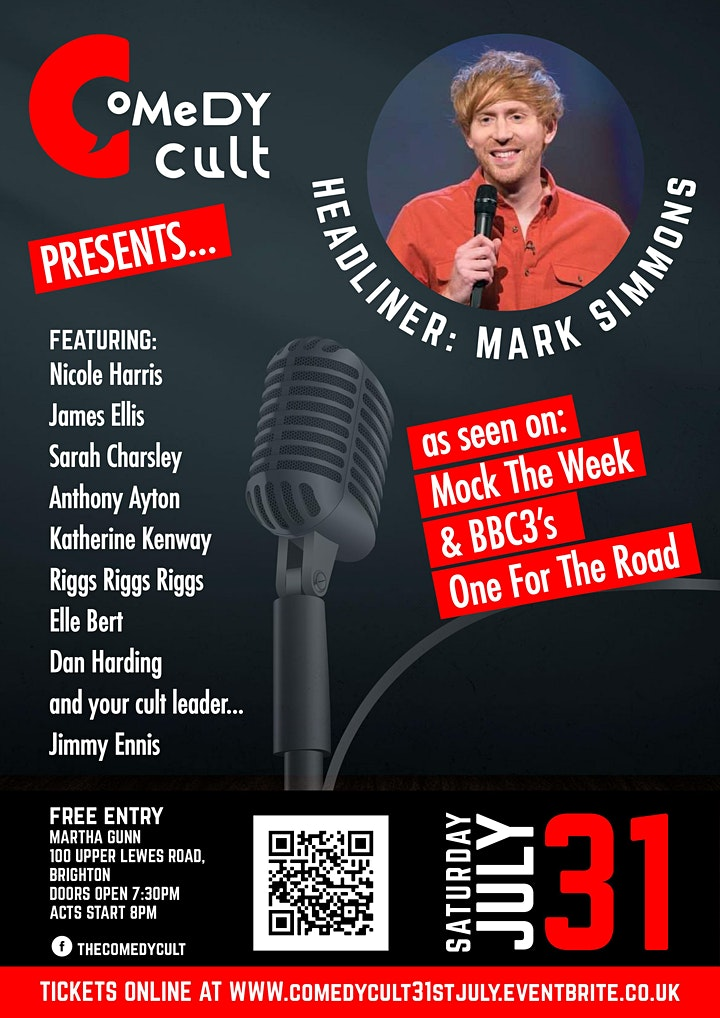 Comedy Cult - Saturday 31st July Headlined by Mark Simmons image