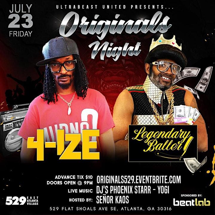 Originals Night w/ 4-Ize & Legendary Baller image