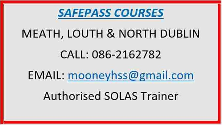 SafePass Courses:  Meath - Louth - North Dublin €165 image