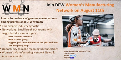 DFW Women in Manufacturing Quarterly Networking Event tickets